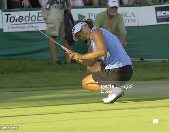 Mi Hyun Kim watches her final putt go in to win the Jamie Farr Owens Corning Classic at Highland Meadows Golf Club in Sylvania Ohio on Sunday July 16...