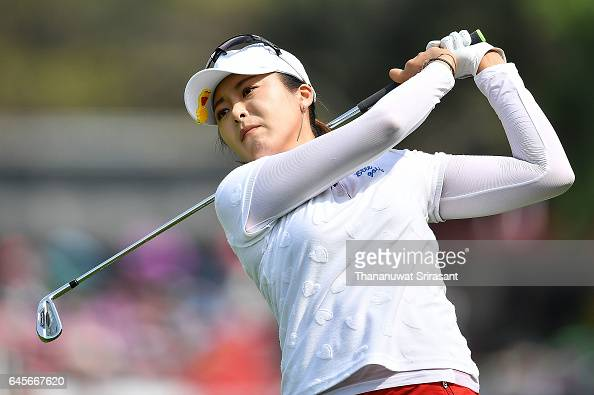 Mi Jung Hur of Republic of Korea plays the shot during the final round of Honda LPGA Thailand at Siam Country Club on February 26 2017 in Chonburi...