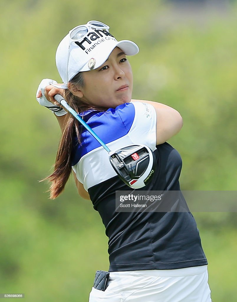 Mi Jung Hur of South Korea hits her tee shot on the third hole during the third round of the Volunteers of America Texas Shootout at Las Colinas Country Club on April 30, 2016 in Irving, Texas.