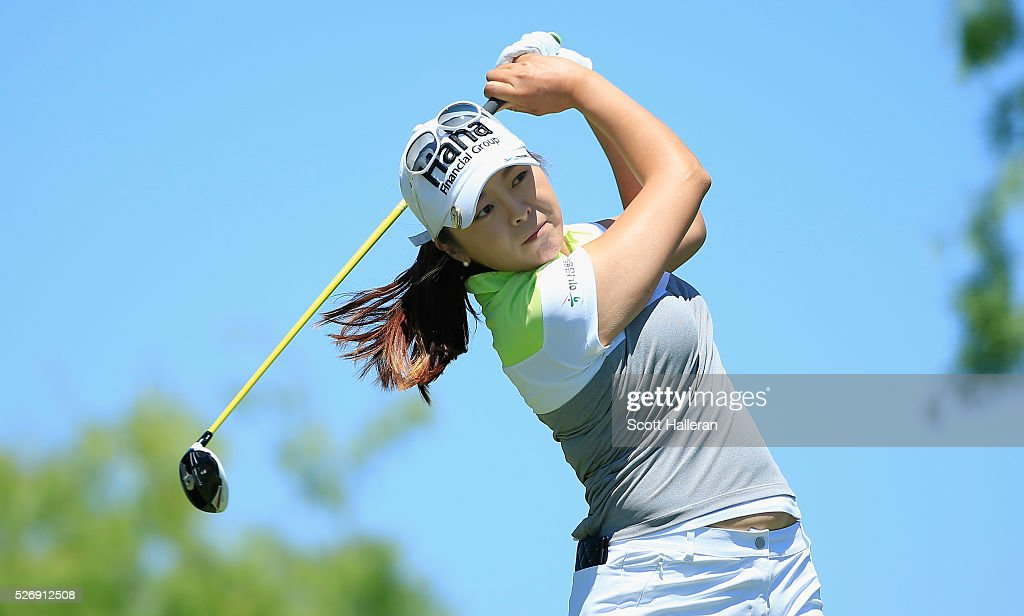Mi Jung Hur of South Korea hits her tee shot on the third hole during the final round of the Volunteers of America Texas Shootout at Las Colinas Country Club on May 1, 2016 in Irving, Texas.