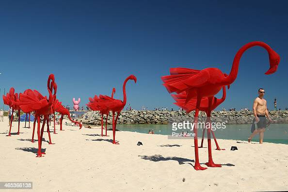 'mi no 5' by artist Wendi Zhang at Sculpture By The Sea at Cottesloe Beach on March 6 2015 in Perth Australia