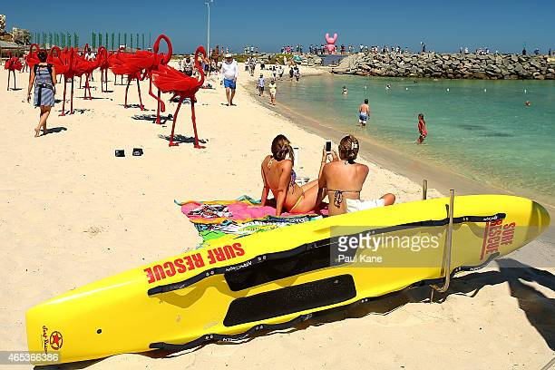 'mi no 5' by artist Wendi Zhang is seen at Sculpture By The Sea at Cottesloe Beach on March 6 2015 in Perth Australia