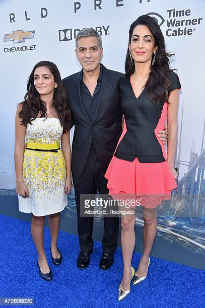 Mia Alamuddin actor George Clooney and lawyer Amal Clooney attend the premiere of Disney's 'Tomorrowland' at AMC Downtown Disney 12 Theater on May 9...