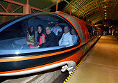 Mia Alamuddin lawyer Amal Clooney actor George Clooney The Walt Disney Company Chairman and CEO Bob Iger and journalist Willow Bay ride the monorail...