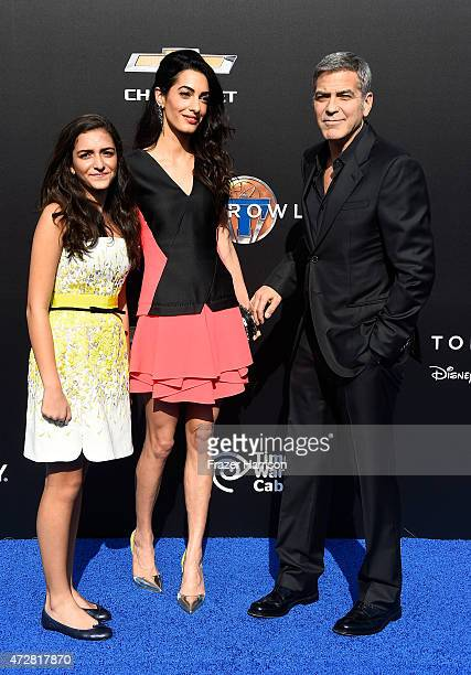 Mia Alamuddin lawyer Amal Clooney and actor George Clooney arrive the Premiere Of Disney's 'Tomorrowland' at AMC Downtown Disney 12 Theater on May 9...
