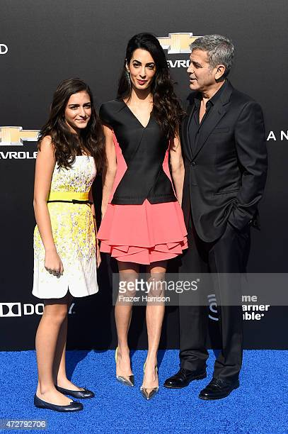 Mia Alamuddin lawyer Amal Clooney and actor George Clooney attend the premiere of Disney's 'Tomorrowland' at AMC Downtown Disney 12 Theater on May 9...