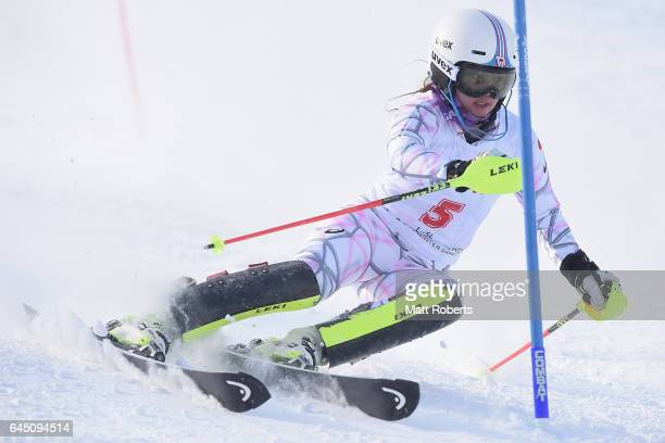Mia Arai of Japan competes in women's slalom alpine skiing on the day eight of the 2017 Sapporo Asian Winter Games at Sapporo Teine on February 25...
