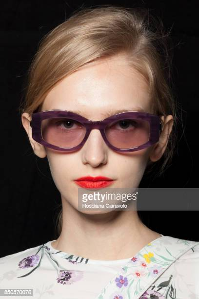 Model is seen backstage ahead of the Max Mara show during Milan Fashion Week Spring/Summer 2018on September 21 2017 in Milan Italy
