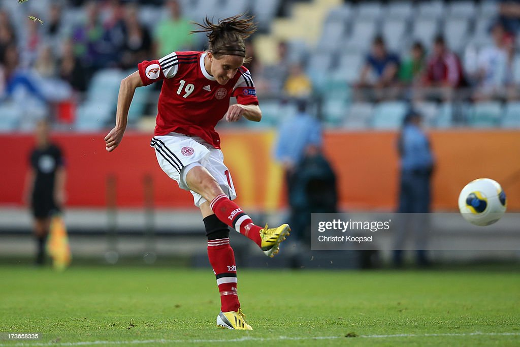 Mia Brogaard of Denmark scores the first goal during the UEFA Women's EURO 2013 Group A match between Denmark and Finland at Gamla Ullevi Stadium on July 16, 2013 in Gothenburg, Sweden.