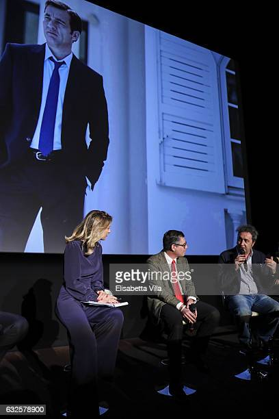 Mia Ceran Bob KunzeConcewitz and Paolo Sorrentino attend the 'Campari Red Diaries' press conference on January 24 2017 in Rome Italy