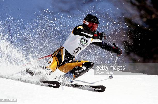 Mia Cullman of the University of Colorado races to a third place finish in the women's slalom during the Division 1 Women's Skiing Championship held...