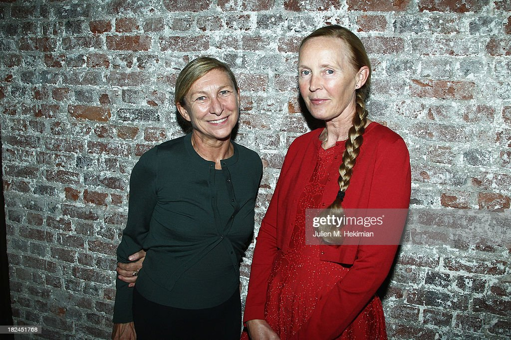 Mia Demarchelier (R) and Odile Gilbert attend the Glamour dinner for Patrick Demarchelier as part of the Paris Fashion Week Womenswear Spring/Summer 2014 at Monsieur Bleu restaurant on September 29, 2013 in Paris, France.