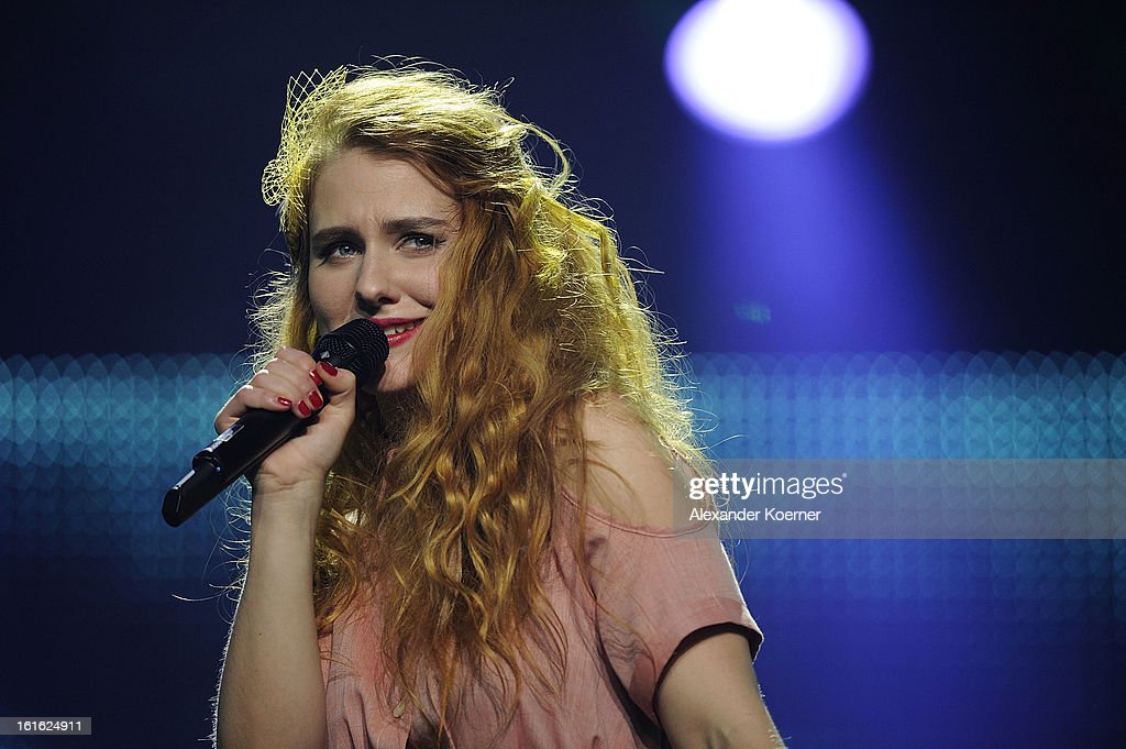 Mia Diekow performs during the TV Show rehearsals of 'Our Star For Malmoe' on February 13, 2013 in Hanover, Germany. 'Our Star For Malmoe' is a national contest to vote the German contestant for the 58th Eurovision Song Contest taking place in Malmoe, Sweden in May 2013.