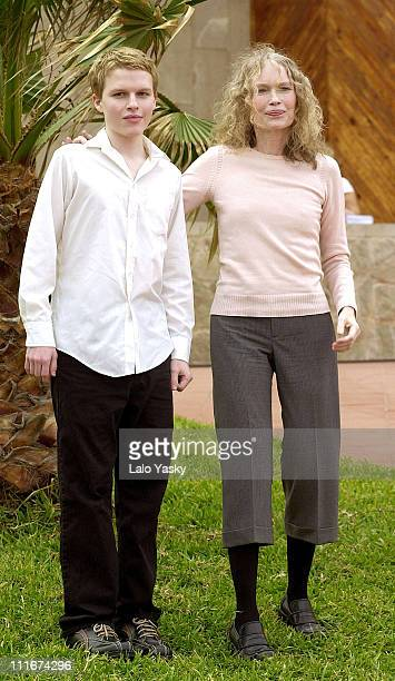 Mia Farrow and son Seamus during Mia Farrow Photocall at 2004 Las Palmas Film Festival at Terrace of the Alfredo Kraus Auditorium in Las Palmas Islas...