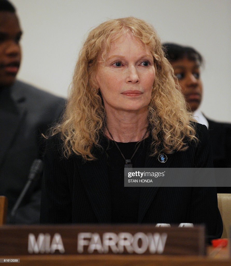 Mia Farrow, Chairperson of Dream for Darfur Advisory Board at her seat just before meeting on June 17, 2008 at United Nations headquarters in New York to discuss peace and security in Sudan. Representatives of the UN Security Council and NGO representatives also attened the event sponsored by the US Mission to the UN. AFP PHOTO/Stan HONDA