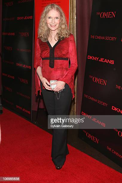 Mia Farrow during The Cinema Society DKNY Jeans present a special screening of 'The Omen' arrivals at Angel Orensanz Foundation at 172 Norfolk Street...