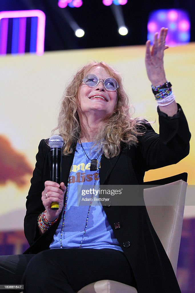 Mia Farrow speaks during the We Day Minnesota event at the Xcel Energy Center in St. Paul, Minnesota on October 8, 2013