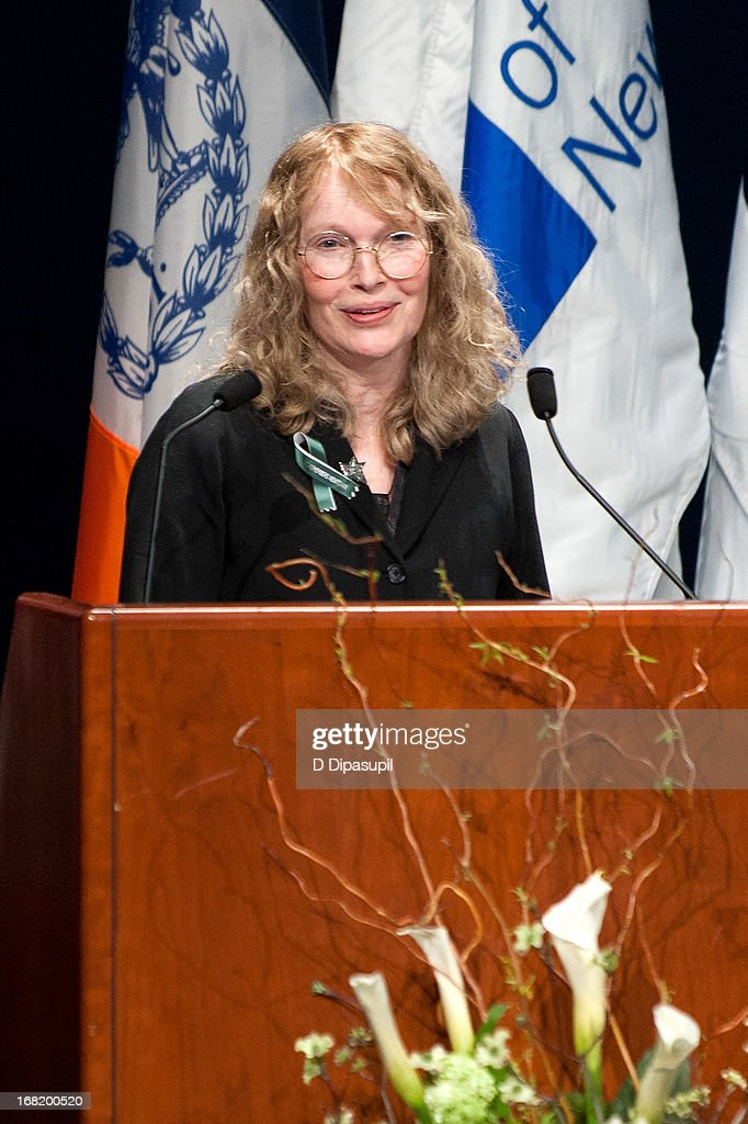 <a gi-track='captionPersonalityLinkClicked' href=/galleries/search?phrase=Mia+Farrow&family=editorial&specificpeople=93764 ng-click='$event.stopPropagation()'>Mia Farrow</a> speaks on stage during the Newtown Memorial Concert at Gerald W. Lynch Theatre on May 6, 2013 in New York City.