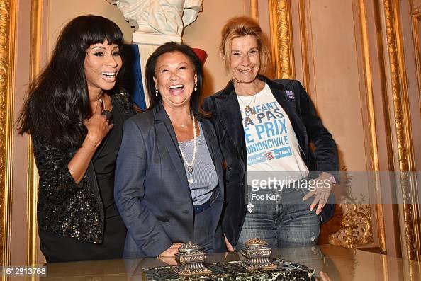 Mia Frye Jeanne d'Hauteserre and Frigide Barjot attend the Massimo Gargia's Photos of Celebrities Exhibition at Mairie du 8eme Paris Fashion Week...