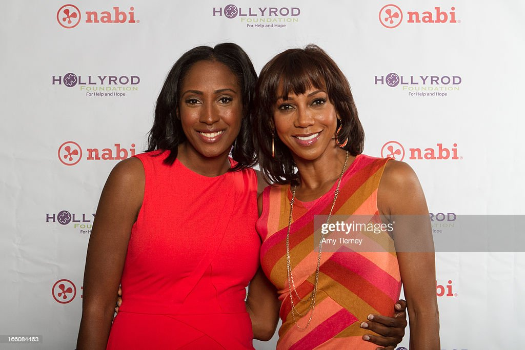 Mia Gorman and <a gi-track='captionPersonalityLinkClicked' href=/galleries/search?phrase=Holly+Robinson+Peete&family=editorial&specificpeople=213716 ng-click='$event.stopPropagation()'>Holly Robinson Peete</a> gather for a donation on behalf of nabi to the HollyRod Foundation to help families living with autism at Fuhu, Inc. on April 7, 2013 in Los Angeles, California.