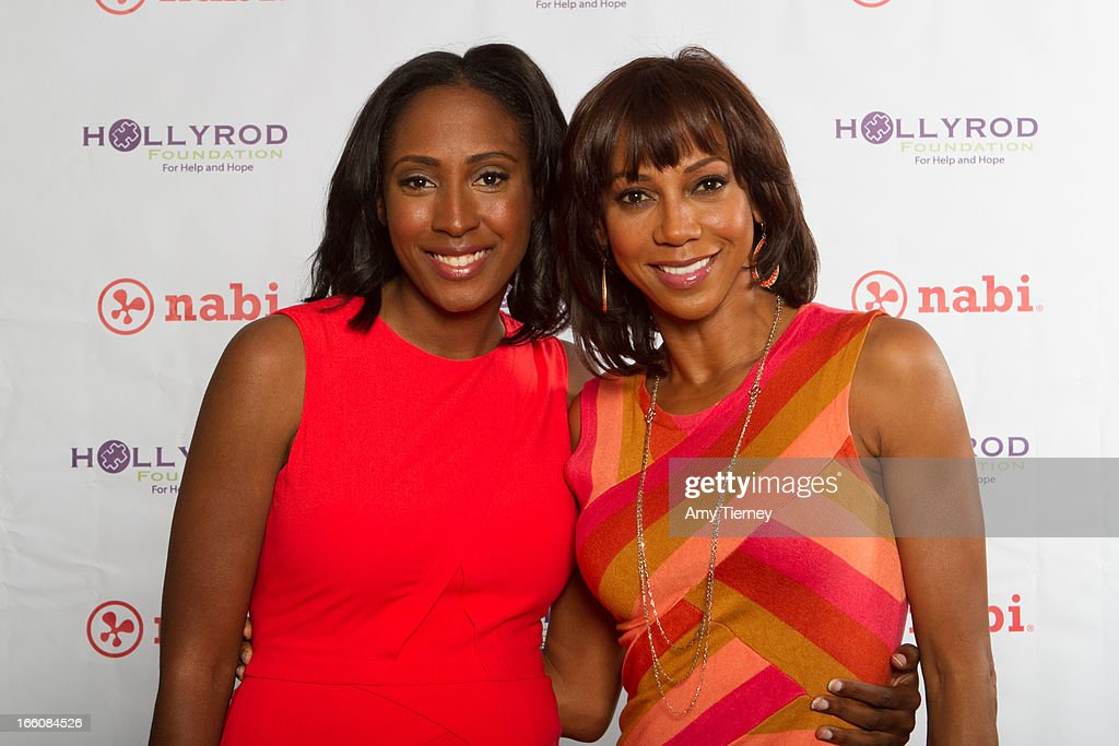 Mia Gorman and Holly Robinson Peete gather for a donation on behalf of nabi to the HollyRod Foundation to help families living with autism at Fuhu, Inc. on April 7, 2013 in Los Angeles, California.