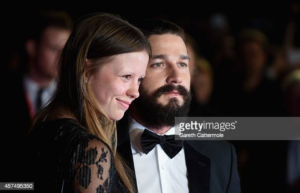 Mia Goth and actor Shia LeBeouf attend the closing night European Premiere gala red carpet arrivals for 'Fury' during the 58th BFI London Film...