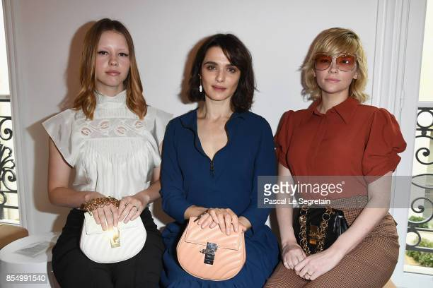 Mia Goth and Rachel Weisz and guest attend the Chloe show as part of the Paris Fashion Week Womenswear Spring/Summer 2018 on September 28 2017 in...