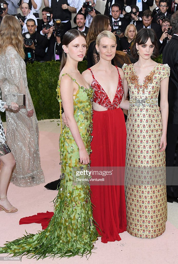 Mia Goth Mia Wasikowska and Stacy Martin attend the 'Manus x Machina Fashion In An Age Of Technology' Costume Institute Gala at Metropolitan Museum...
