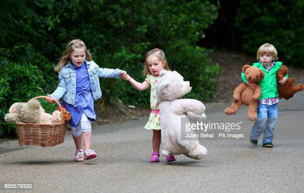 Mia Helly Seren Evans and Cillian Farrell at the Dublin Zoo as they launch plans to host the World's largest Teddy Bear picnic