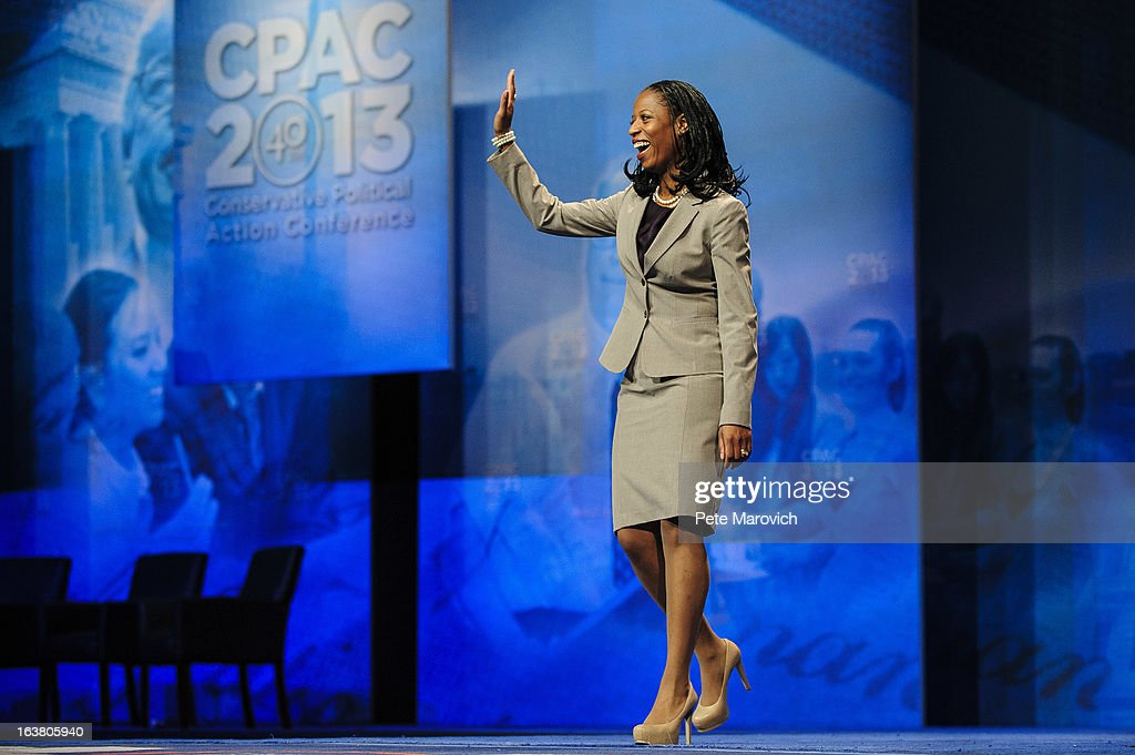 Mia Love, Republican Mayor of Saratoga Springs, Utah, waves at the 2013 Conservative Political Action Conference (CPAC) March 16, 2013 in National Harbor, Maryland. The American Conservative Union held its annual conference in the suburb of Washington, DC to rally conservatives and generate ideas.
