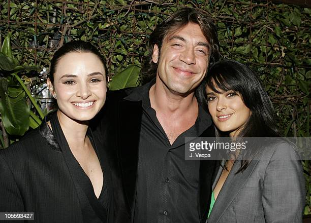 Mia Maestro Javier Bardem and Salma Hayek during 'The Sea Inside' Special Los Angeles Screening at New Line Screening Room in Los Angeles California...