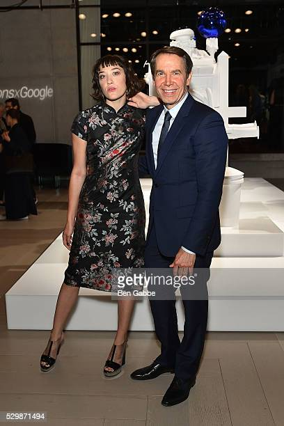 Mia Moretti and artist Jeff Koons attend the Jeff Koons x Google launch on May 09 2016 in New York New York