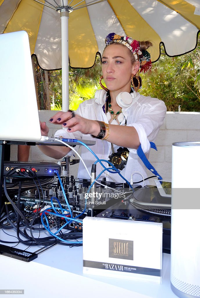 DJ <a gi-track='captionPersonalityLinkClicked' href=/galleries/search?phrase=Mia+Moretti&family=editorial&specificpeople=5368220 ng-click='$event.stopPropagation()'>Mia Moretti</a> attends Harper's BAZAAR Coachella poolside fete at the Parker Palm Springs on April 12, 2013 in Palm Springs, California.
