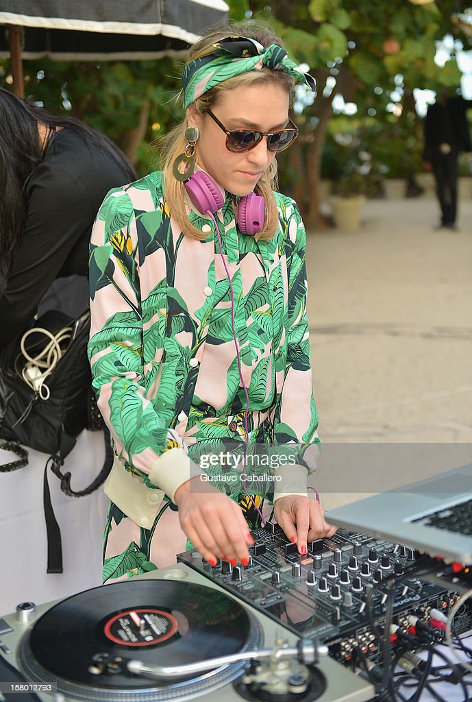 DJ Mia Moretti spins during AD Oasis at The Raleigh on December 8, 2012 in Miami, Florida.