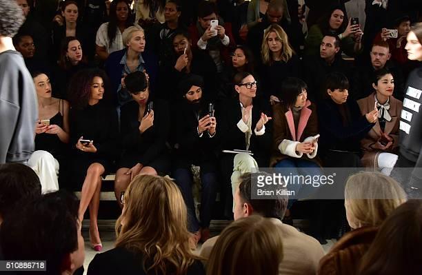 Mia Moretti Yara Shahidi Jennifer Hudson Waris Ahluwalia Jenna Lyons Eva Chen Princess Deena Abdulaziz and Caroline Issa watch the DKNY Fall 2016...