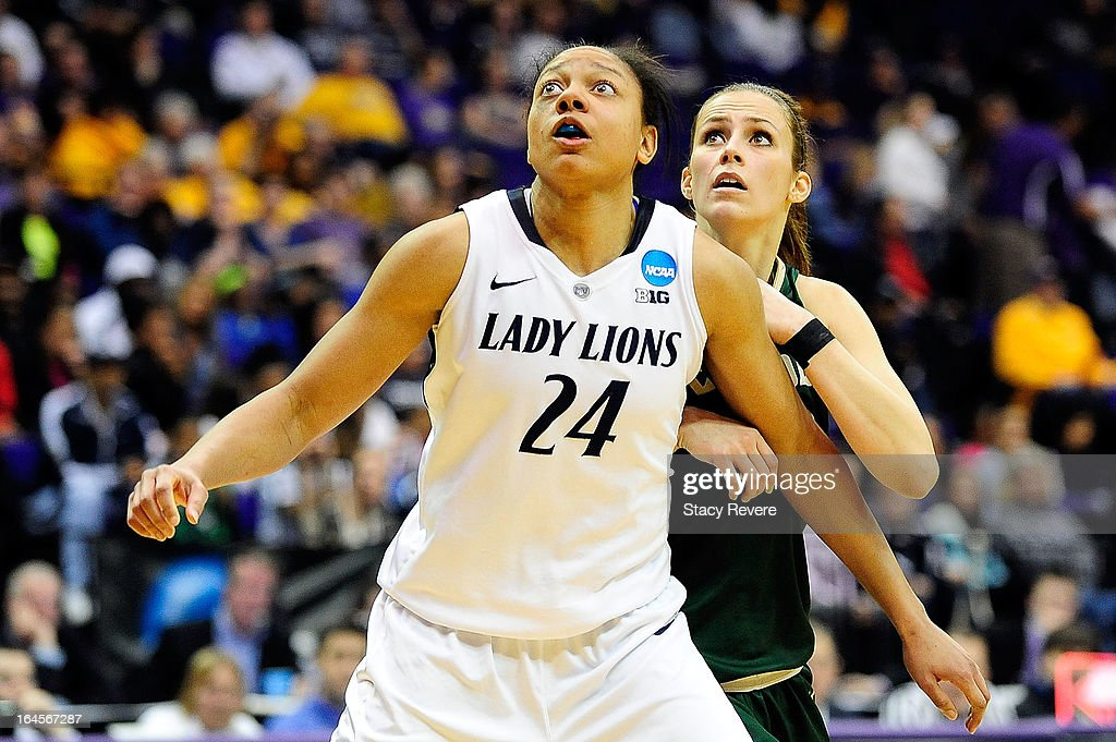 Mia Nickson #24 of the Penn State Lady Lions defends against Nikol Allison #13 of the Cal Poly Mustangs during the first round of the NCAA Tournament at the Pete Maravich Assembly Center on March 24, 2013 in Baton Rouge, Louisiana. Penn State won the game 85-55.