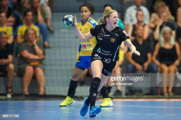 Mia Rej of Copenhagen Handball in action during the Primo Tours Ligaen 3 Final match between Nykobing Falster Handbold and Copenhagen Handball in...