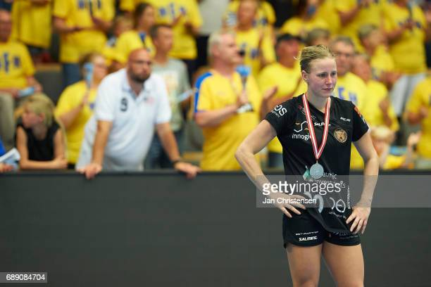 Mia Rej of Copenhagen Handball looks dejected after the Primo Tours Ligaen 3 Final match between Nykobing Falster Handbold and Copenhagen Handball in...