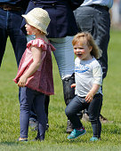 Mia Tindall and cousin Isla Phillips lark about as they attend the Badminton Horse Trials on May 8 2016 in Badminton England