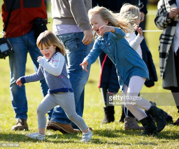 Mia Tindall and cousin Savannah Phillips attend the Gatcombe Horse Trials at Gatcombe Park on March 25 2017 in Stroud England