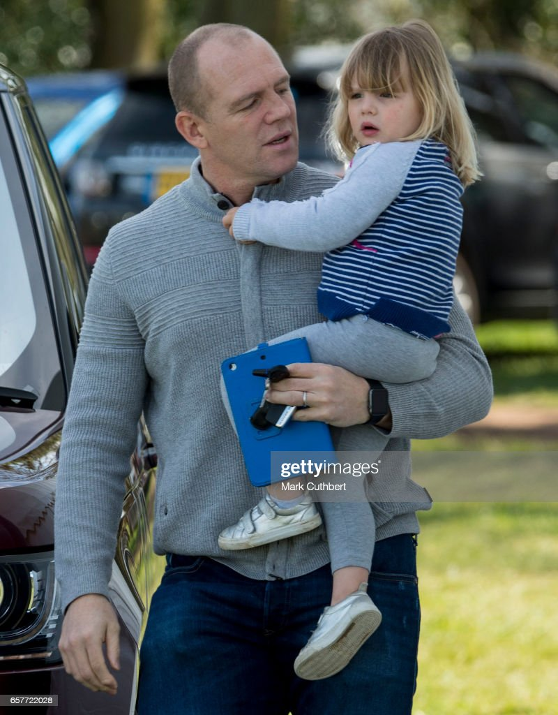 Mia Tindall and Mike Tindall attend The Gatcombe Horse Trials at Gatcombe Park on March 25, 2017 in Stroud, England.