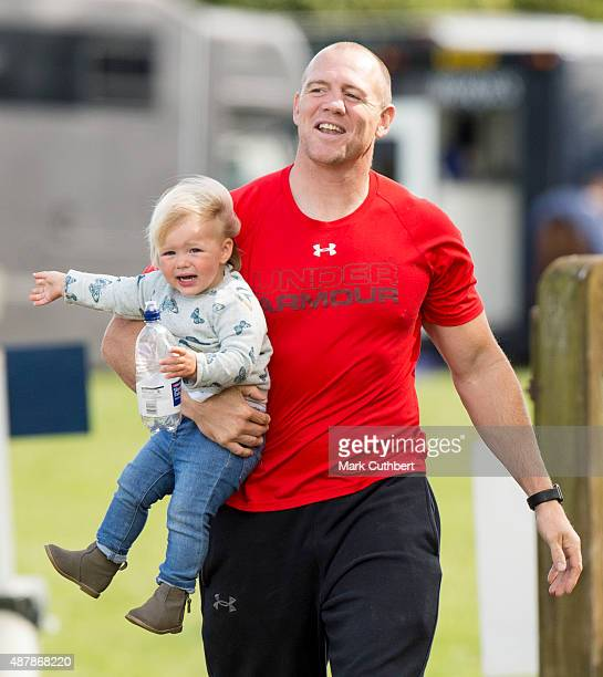 Mia Tindall and Mike Tindall attend the Whatley Manor International Horse Trials at Gatcombe Park on September 12 2015 in Stroud England