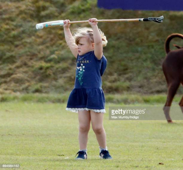 Mia Tindall plays with a polo mallet as she attends the Maserati Royal Charity Polo Trophy Match during the Gloucestershire Festival of Polo at the...