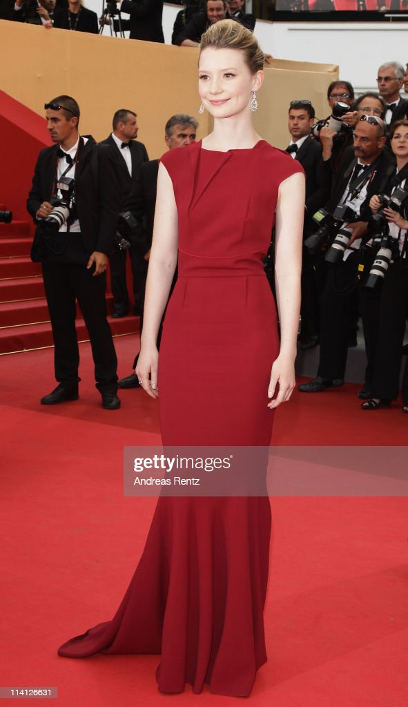 Mia Wasikowska arrives at the 'Restless' premiere during the 64th Annual Cannes Film Festival at the Palais des Festivals on May 12, 2011 in Cannes, France.