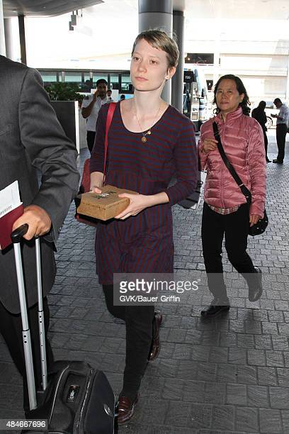 Mia Wasikowska is seen at LAX on August 20 2015 in Los Angeles California