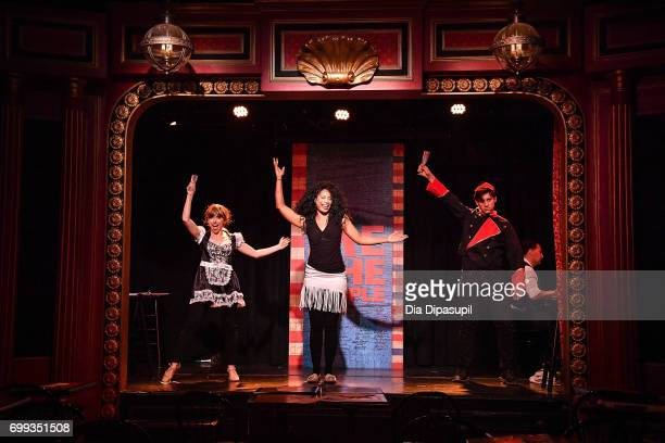 Mia Weinberger Aiesha Alia Dukes and Richard Spitaletta perform onstage during the 'ME THE PEOPLE The Trump America Musical' Press Preview...