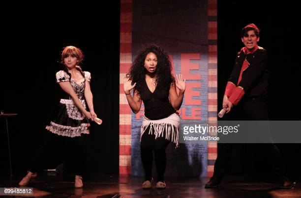 Mia Weinberger Aiesha Dukes and Richard Spitaletta perform onstage during the 'ME THE PEOPLE The Trump America Musical' Press Preview Presentation at...