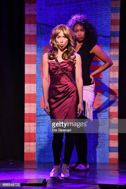 Mia Weinberger and Aiesha Alia Dukes perform onstage during the 'ME THE PEOPLE The Trump America Musical' Press Preview Presentation at The Triad...