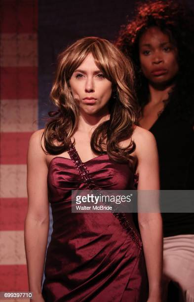 Mia Weinberger as Melania Trump and Aiesha Dukes perform onstage during the 'ME THE PEOPLE The Trump America Musical' Press Preview Presentation at...