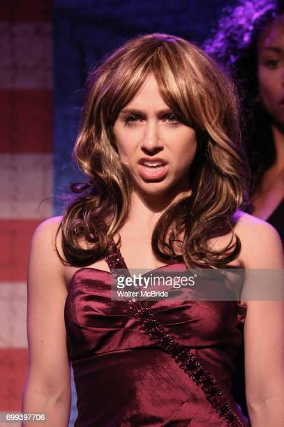 Mia Weinberger as Melania Trump performs onstage during the 'ME THE PEOPLE The Trump America Musical' Press Preview Presentation at The Triad Theater...